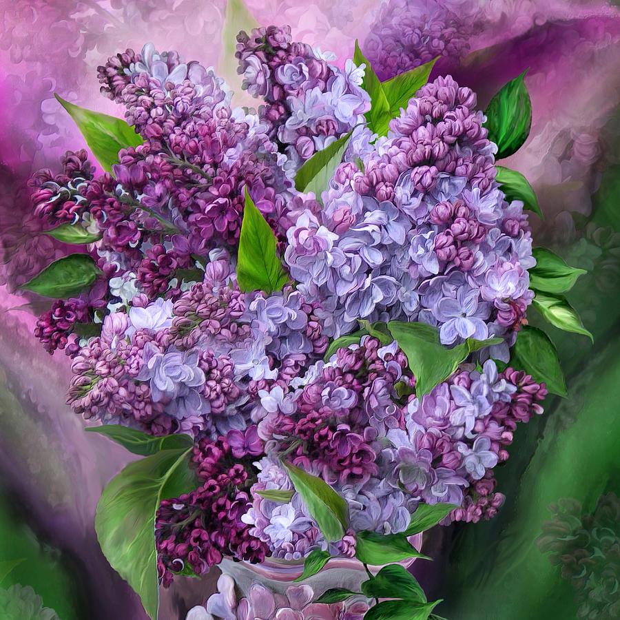 Lilacs In Lilac Vase - SQ by Carol Cavalaris