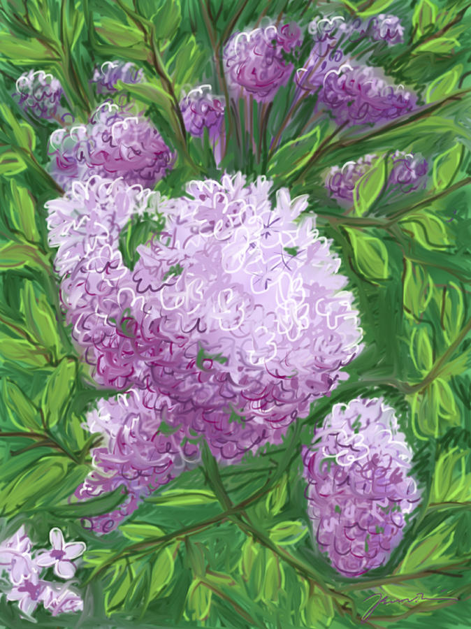 Flowers Painting - Lilacs by Jean Pacheco Ravinski