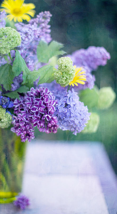 Lilacs Photograph - Lilacs On The Table by Rebecca Cozart