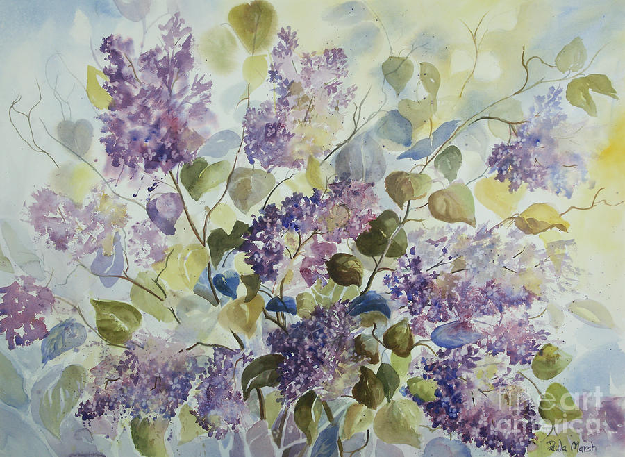 Flowers Painting - Lilacs by Paula Marsh