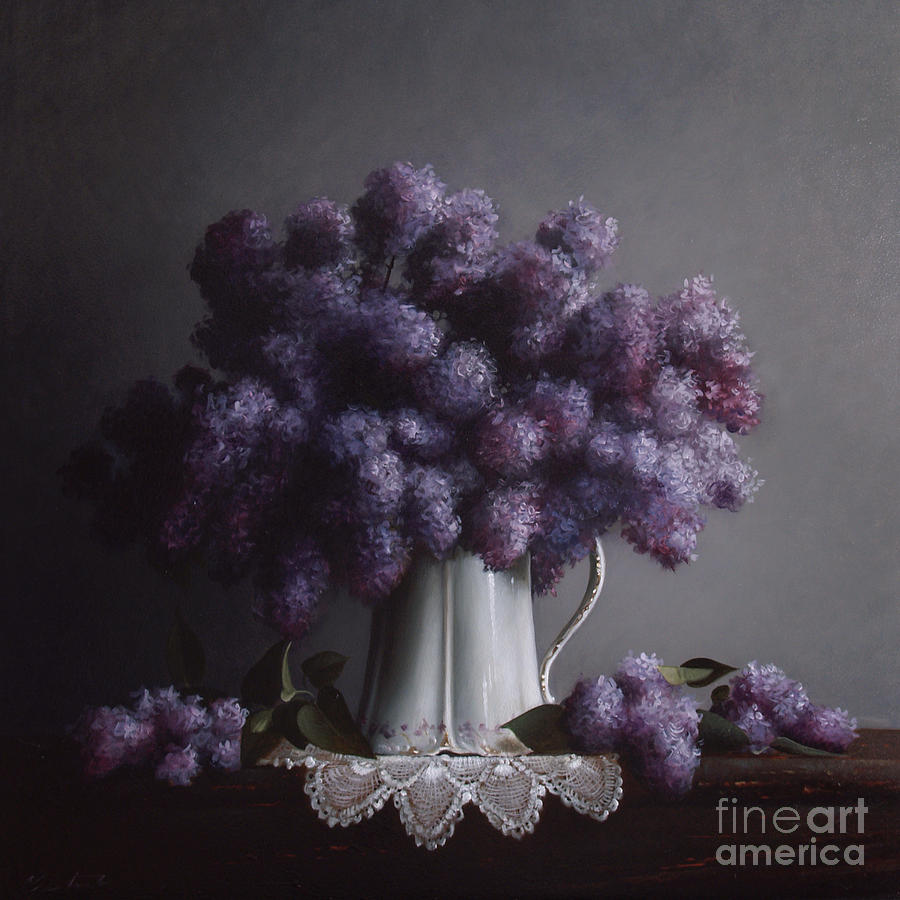Lilacs Painting - Lilacs Study No.2 by Larry Preston