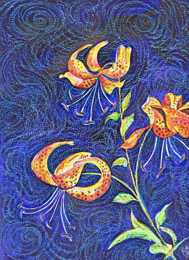 Lilies At Night Painting