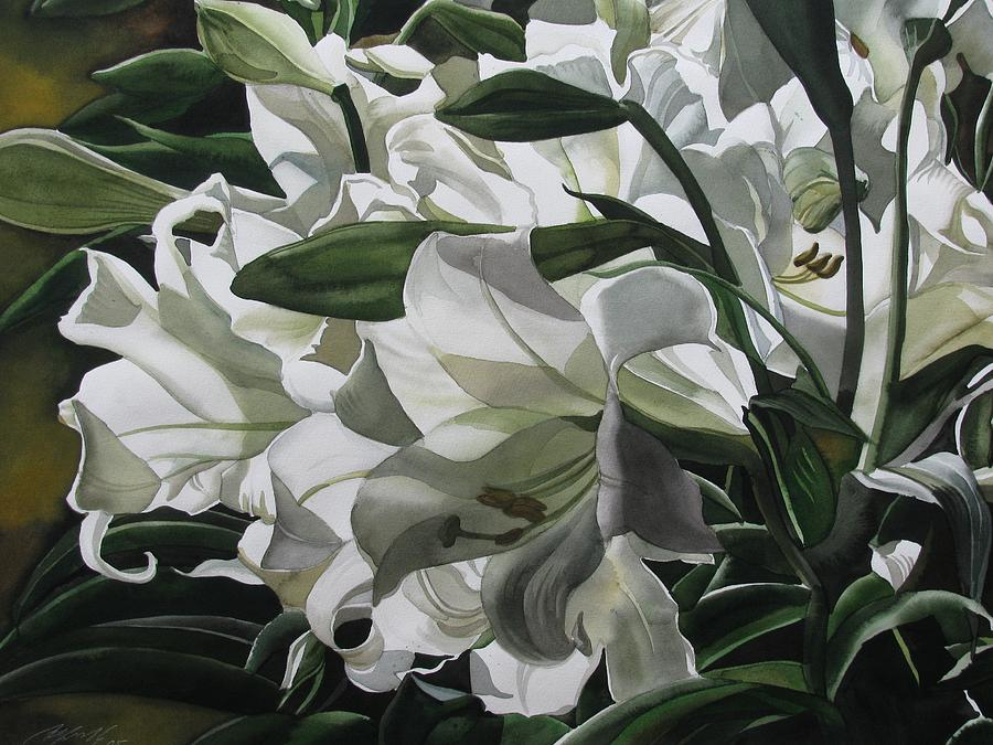 Lily Painting - lilies for Easter by Alfred Ng