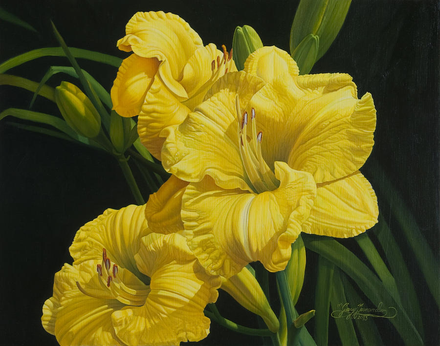 Floral Painting - Lilies for Olivia Rose by Gary  Hernandez