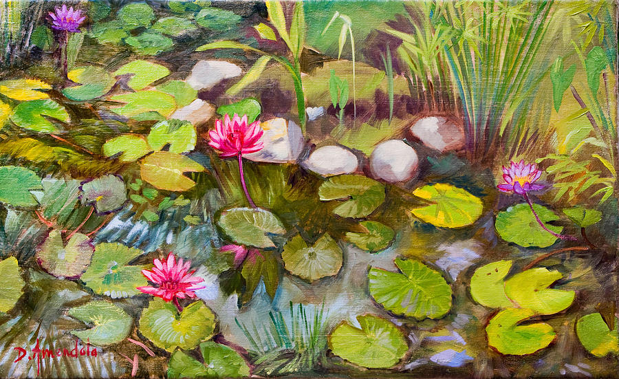 Outdoors Painting - Lilies in india by Dominique Amendola