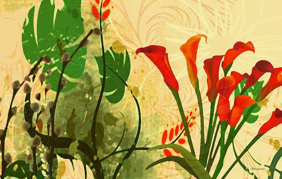 Lilies Digital Art - Lilies In The Park by Madeline  Allen - SmudgeArt