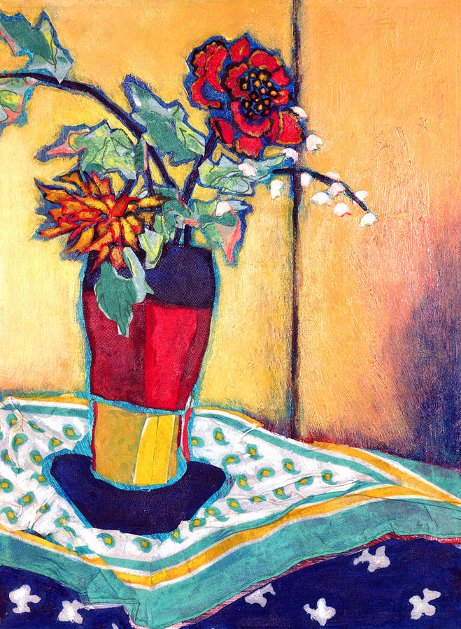 Flowers In A Vase Mixed Media - Lilies Of The Valley by Diane Fine