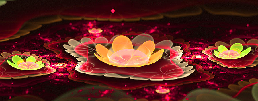 Flora Digital Art - Lilies On Lava Bed by Ester  Rogers