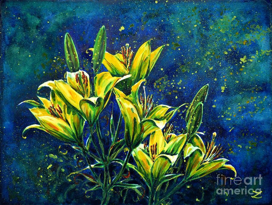 Lilies Painting - Lilies by Zaira Dzhaubaeva
