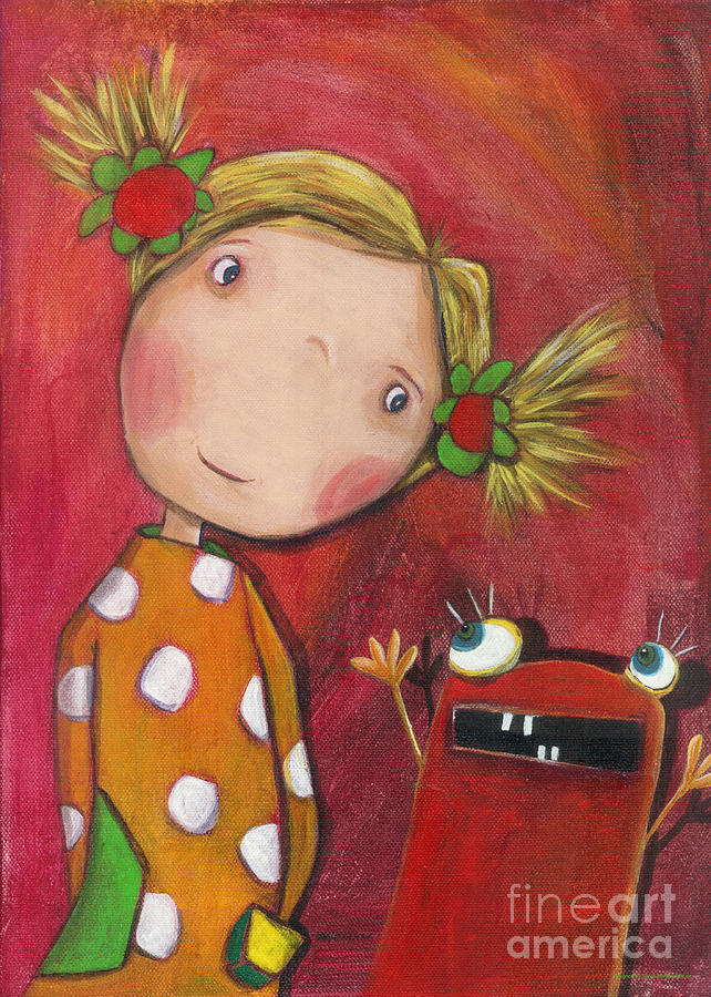 Lilli Painting - Lilli With Her Monster by Sonja Mengkowski