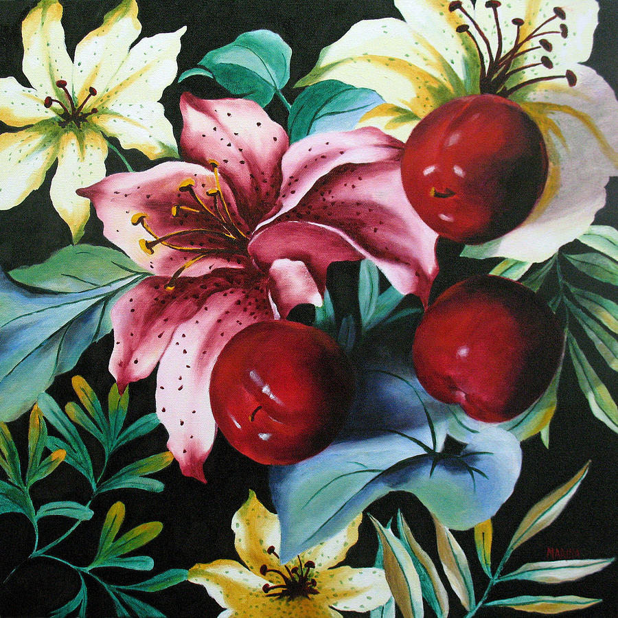 Lillies And Plums by Marina Petro