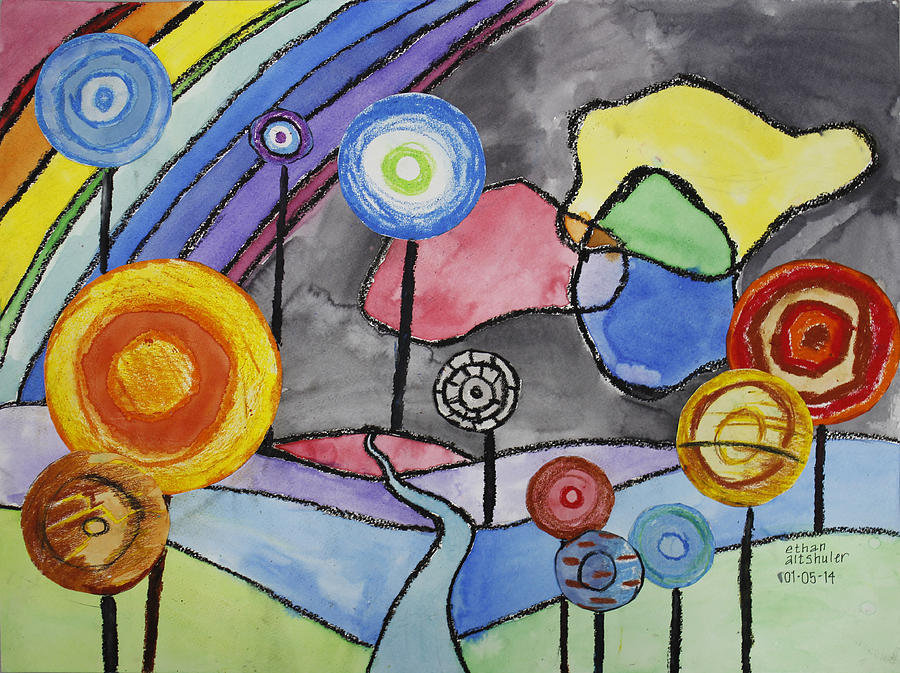 Lollipops And Rainbow  Painting by Ethan Altshuler