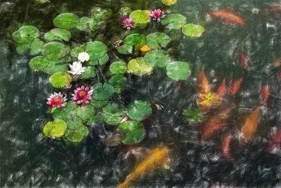 Asia Digital Art - Lily 0147 - Light Colored Pencil Sl by David Lange