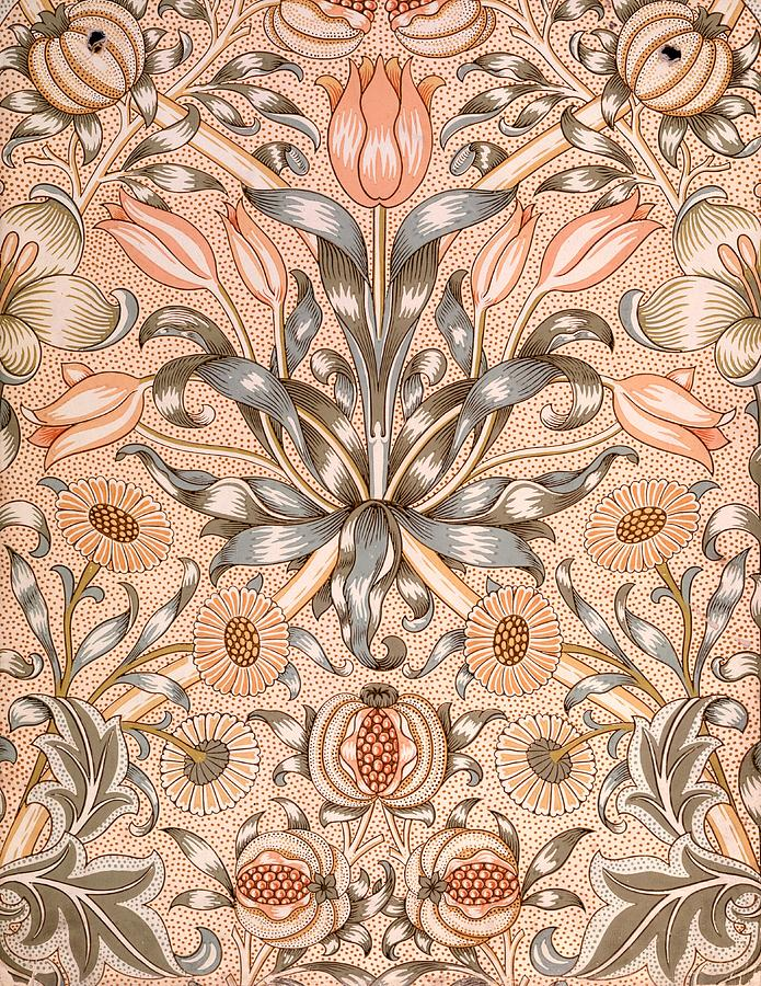 Wallpaper Tapestry - Textile - Lily and Pomegranate wallpaper design by William Morris