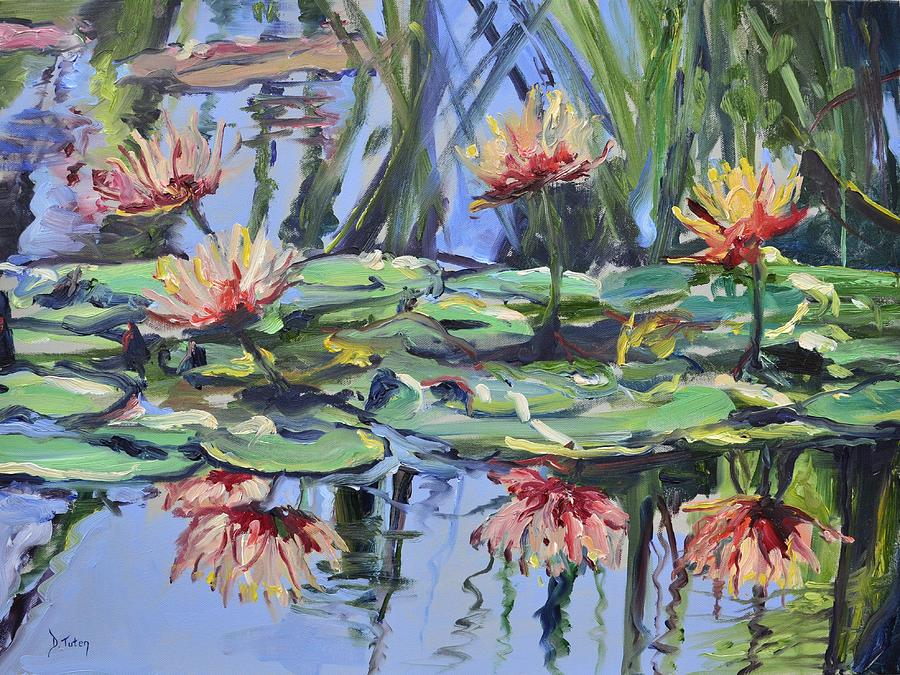 Lily Painting - Lily Pond Reflections by Donna Tuten