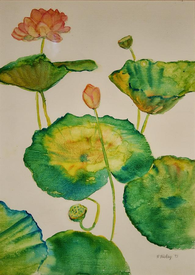 Lilypads 1 Painting by Helen Hickey