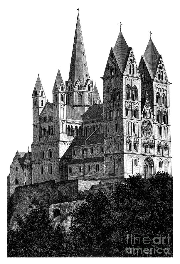 Black And White Mixed Media - Limburg Cathedral Beautiful Detailed Woodblock Print by Christos Georghiou