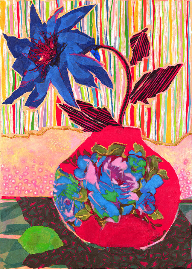 Flower In A Vase Mixed Media - Lime by Diane Fine