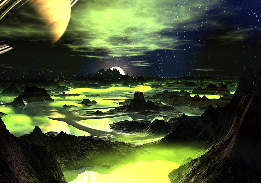 Lime Green Alien Landscape Digital Art by Spinning Angel
