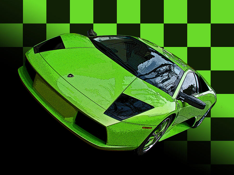 Lime Green Lamborghini Murcielago with Checkerboard by Samuel Sheats