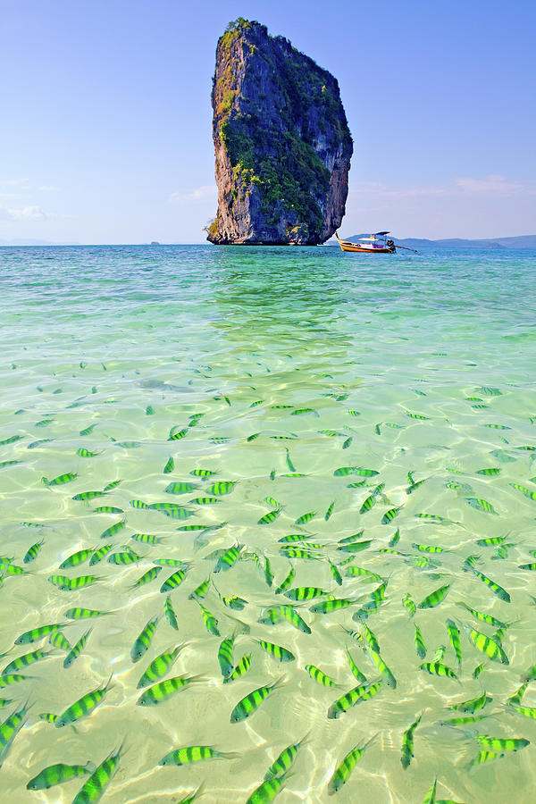 Limestone Karst In Andaman Sea, Koh Poda Photograph by John W Banagan