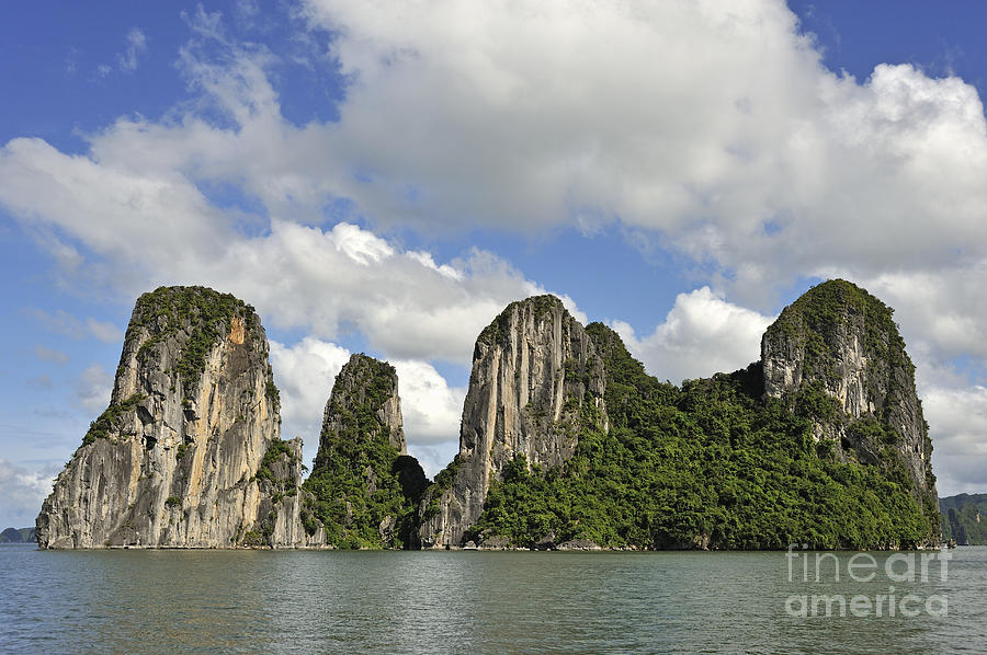 Long Photograph - Limestone Karst Peaks Islands In Ha Long Bay by Sami Sarkis