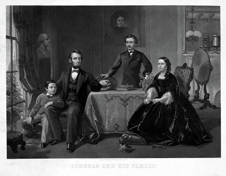 1860 Painting - Lincoln And Family by Granger