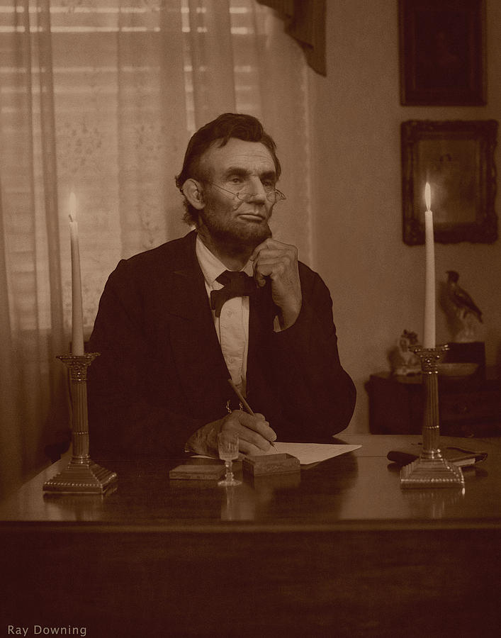Abraham Lincoln Digital Art - Lincoln At His Desk by Ray Downing