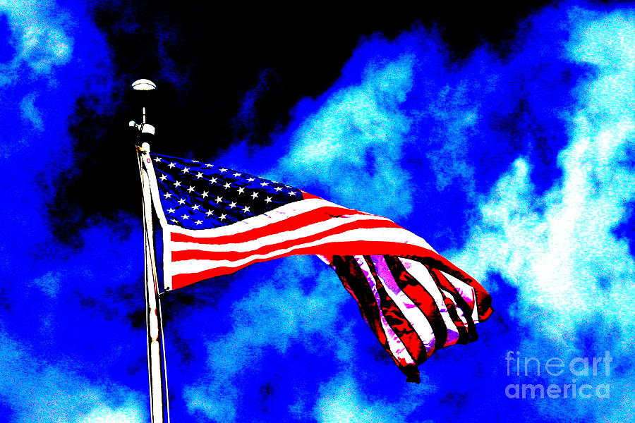 Flag Photograph - Lincoln Elementary by Jay Nodianos
