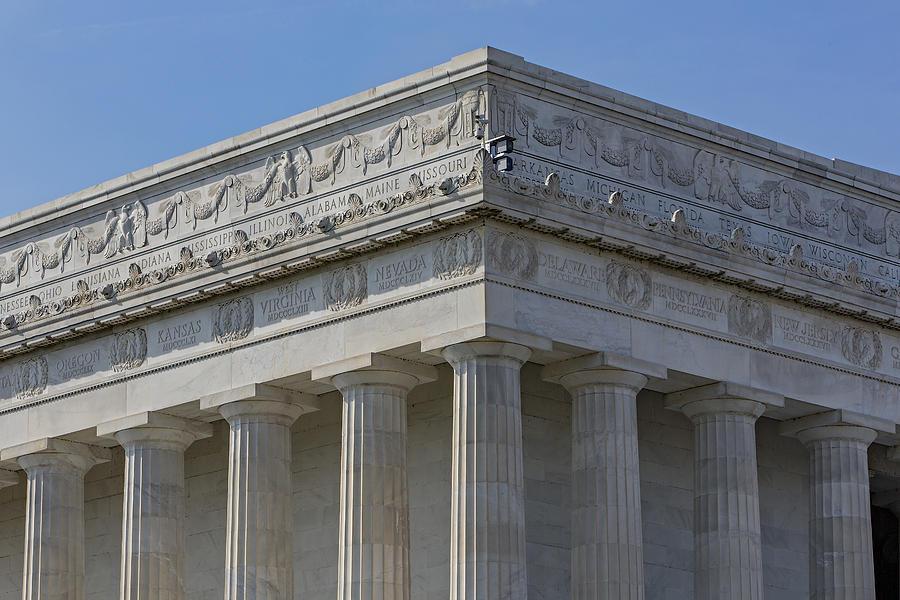 Abraham Lincoln Memorial Photograph - Lincoln Memorial Columns  by Susan Candelario