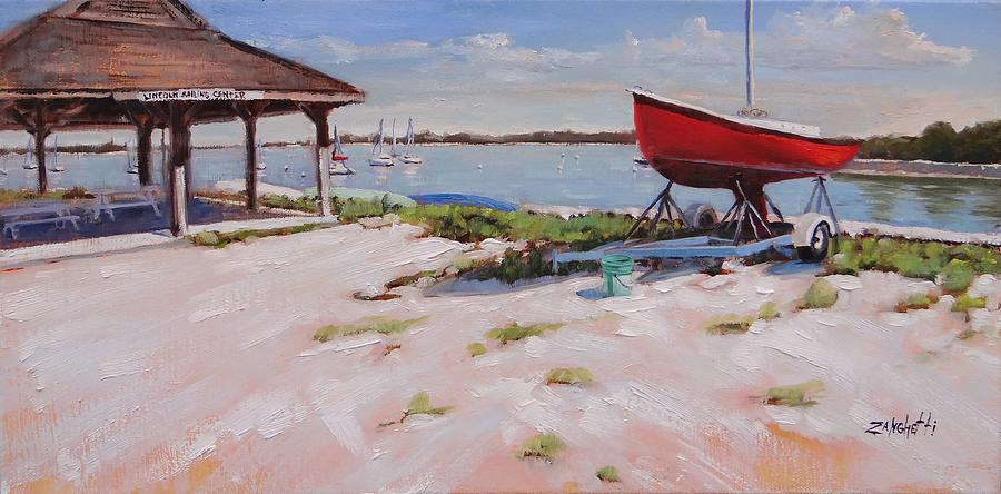 Boats Painting - Lincoln Sailing Center by Laura Lee Zanghetti