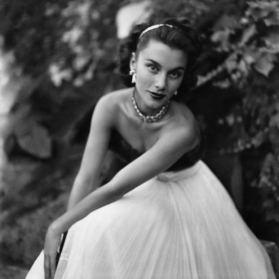 Linda Christian Wearing A Ball Gown Photograph by Clifford Coffin