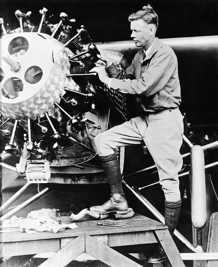 1920's Photograph - Lindbergh Tunes Up Plane by Underwood Archives