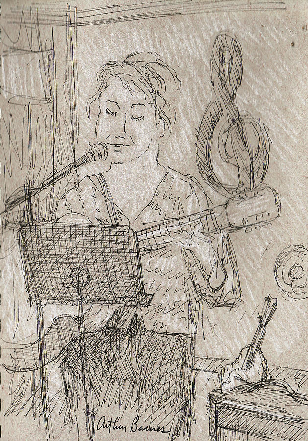 Music Drawing - Angelic by Arthur Barnes