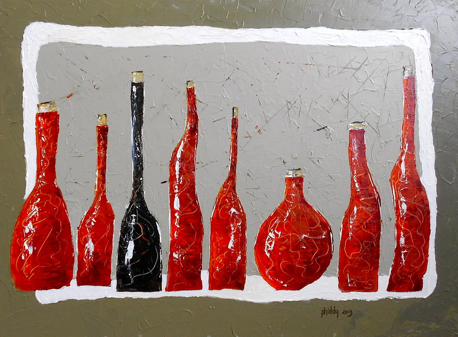 Wine Painting - Line Of Wine by Phiddy Webb