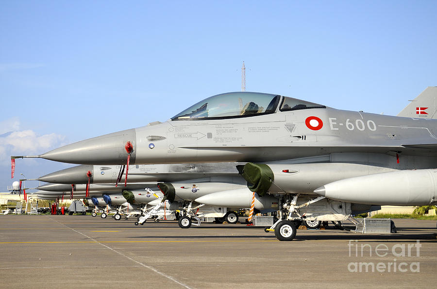 Line-up Of F-16a Mlu Of The Royal Photograph