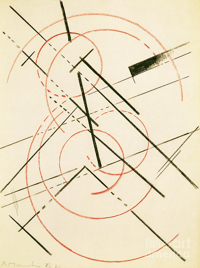 Constructivist Painting - Linear Composition by Lyubov Sergeevna Popova