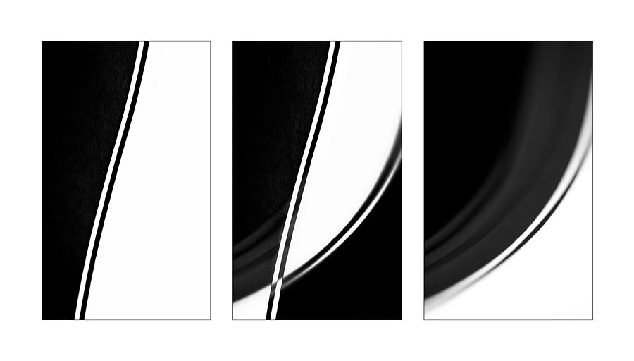 Triptych Photograph - Lines And Curves In Black And White by Natalie Kinnear