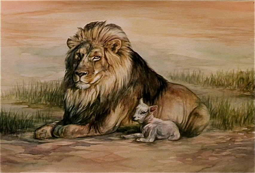 Lion And Lamb Painting by Danielle Sobol