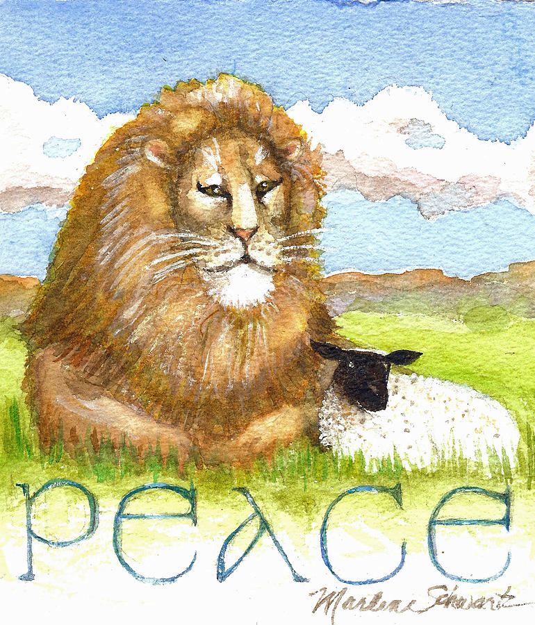 Lion and Lamb - Peace  by Marlene Schwartz Massey