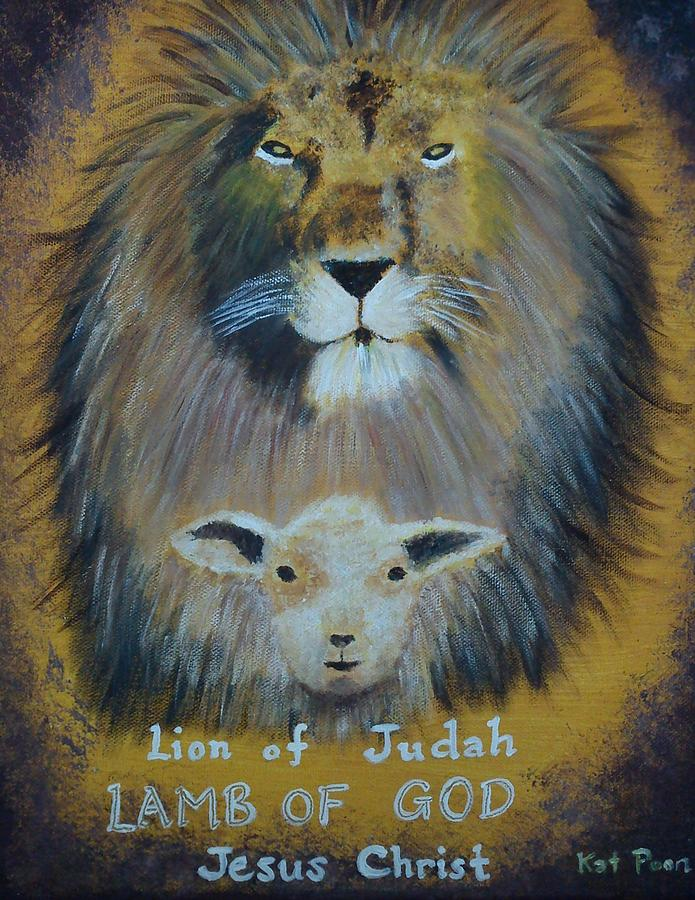 Lion Painting - Lion And The Lamb by Kat Poon