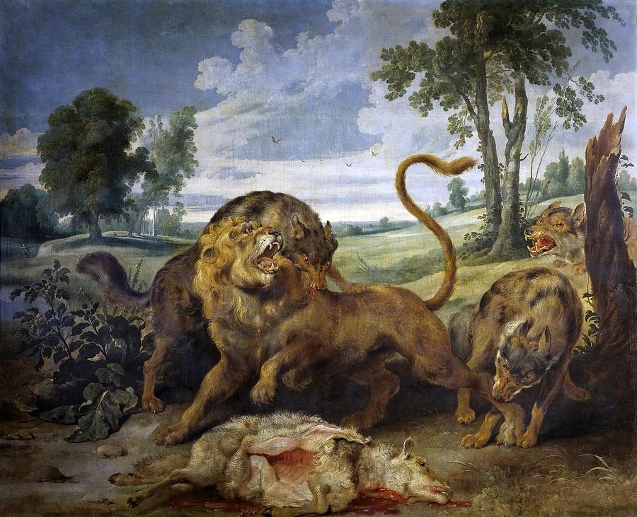 Paul De Vos Painting - Lion And Three Wolves by Paul de Vos