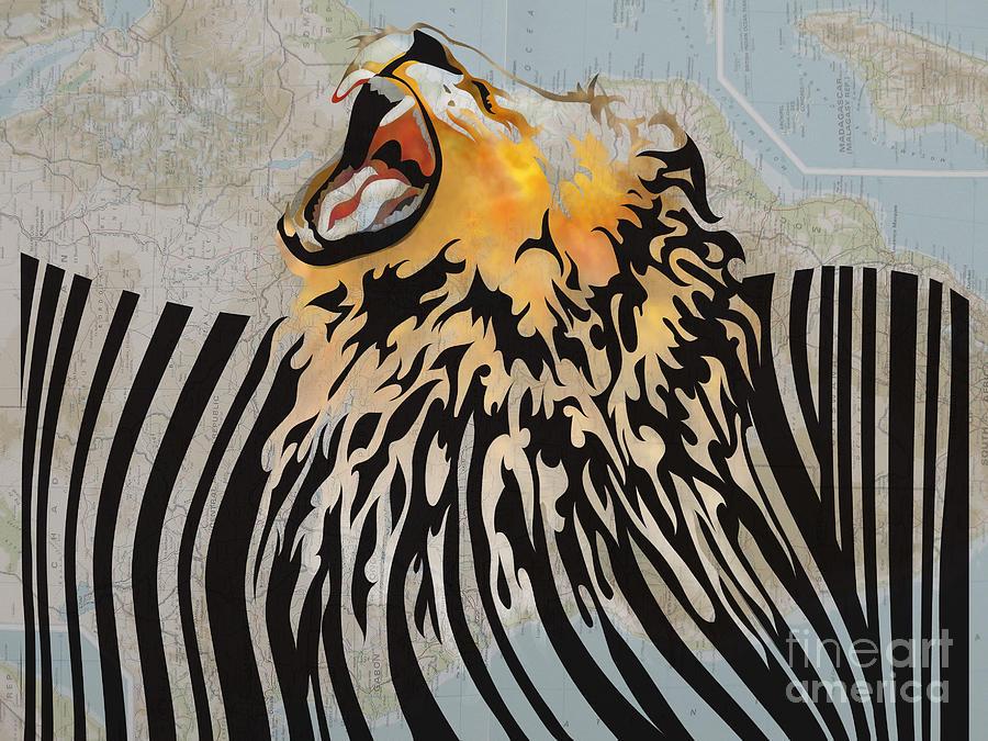 Lion Digital Art - Lion Barcode by Sassan Filsoof