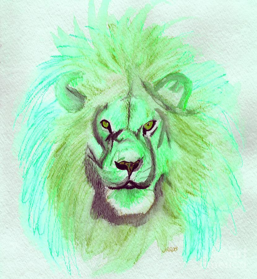 Lion Painting - Lion Blue By Jrr by First Star Art