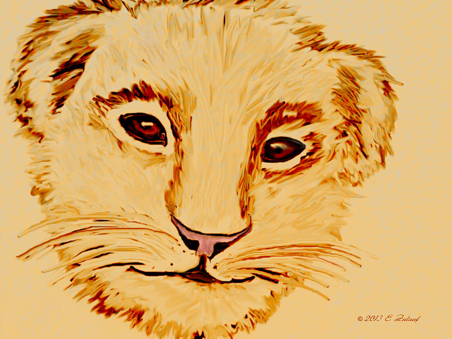Lion Drawing - Lion Cub by Elizabeth S Zulauf