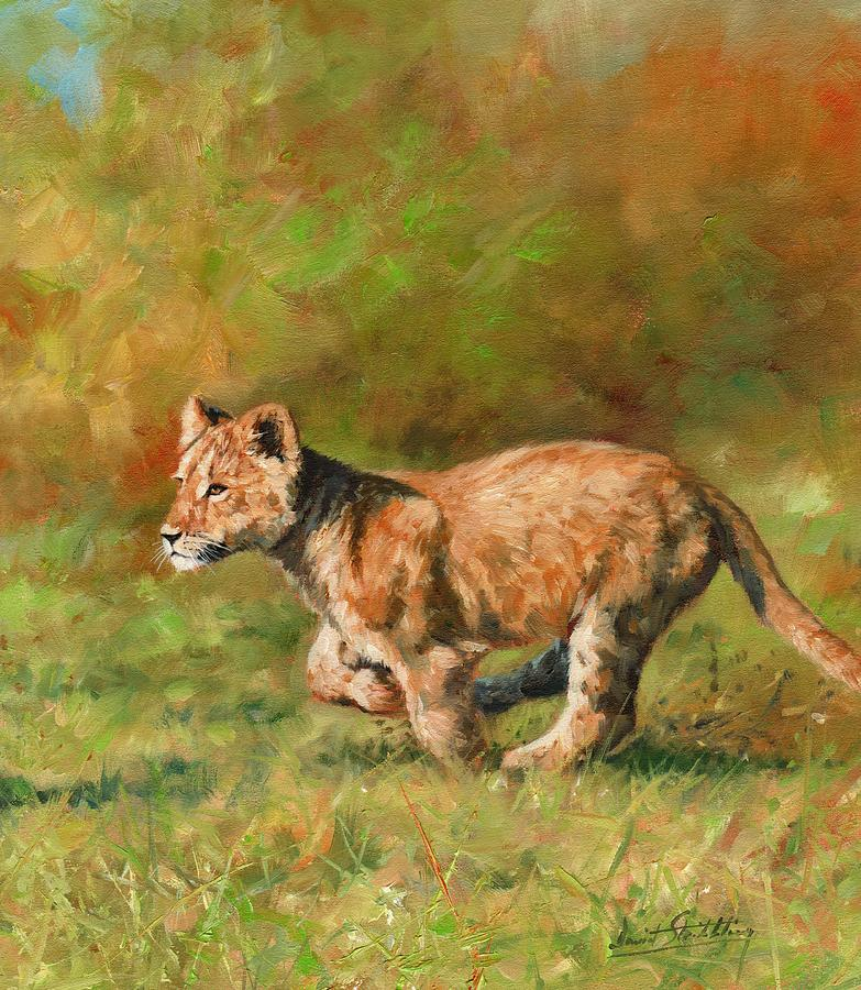 Lion Cub Running Painting