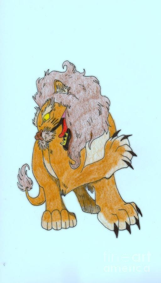 Lion Drawing - Lion Dragon by Wendy Coulson