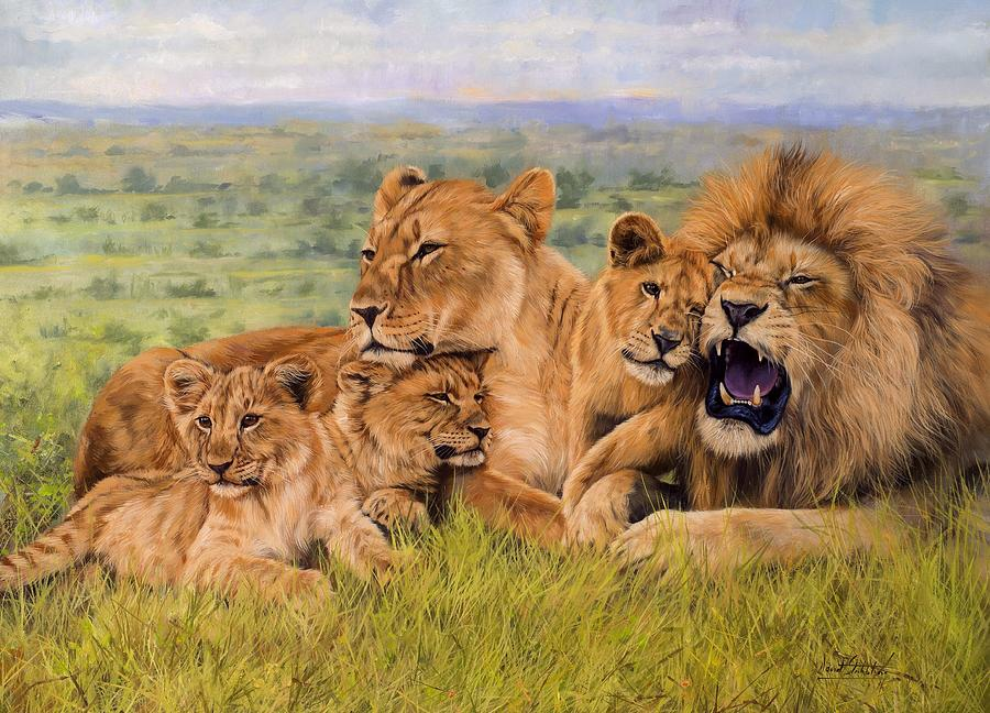 Lion Family Painting By David Stribbling