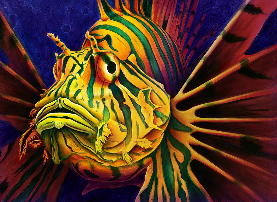 Lionfish Painting by S... Colorful Lion Paintings