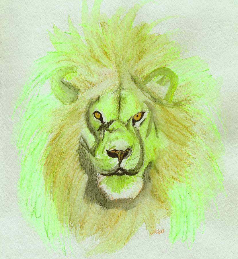Lion Digital Art - Lion Green by First Star Art